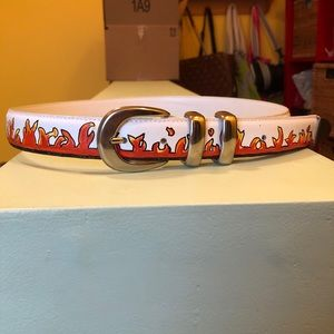 Hand Painted Genuine Leather Flame Belt